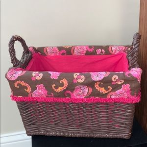 Decorative Lined Wicker Storage Basket